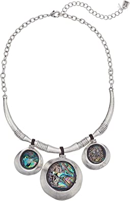 Silver and Abalone Disc Drop Frontal Necklace