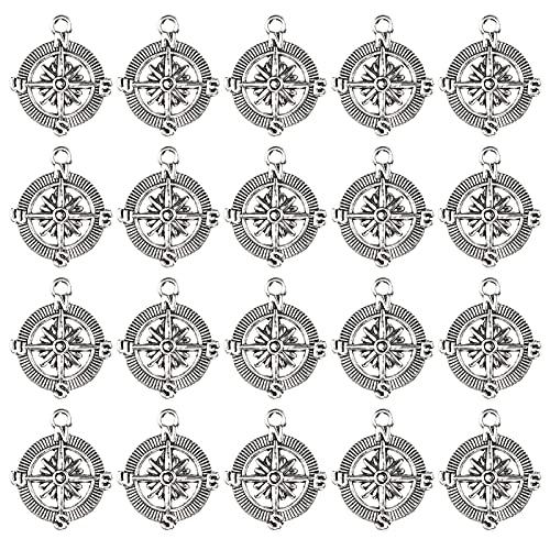Agatige 20 Piezas de Colgante de brújula, Serie náutica de aleación, Accesorios de joyería de Anclaje para Hombres y Mujeres, Materiales de Bricolaje