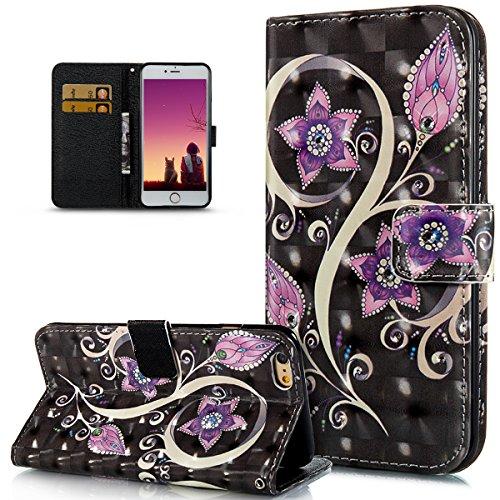 ikasus Coque iPhone 6S Plus/6 Plus Art coloré 3D peinte fleurs papillon Motif Diamants strass Housse Cuir PU Etui Coque Portefeuille supporter Flip Case Etui Housse Coque,fleur violette