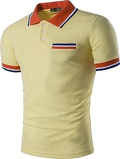 Mens Polo Shirts Contrast Collar Golf Tennis Short Sleeve Shirt Tops JZA012