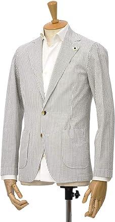 LARDINI【ラルディーニ】シアサッカーシャツジャケット JPAMAJ/EGC1052/510 コットン ホワイト/ブラウン