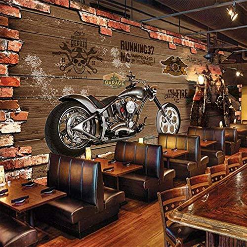 Mssdebz Fototapete Retro Motorrad Ziegel Fototapeten Vlies Wand Tapete Wohnzimmer Schlafzimmer Büro Flur Dekoration Wandbilder Moderne Wanddeko-300cmx210cm