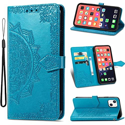 SCRENDY Funda para iPhone 11 Pro MAX 6.5' con Tapa, Magnético Carcasa con Tarjetero y Suporte, Cubierta Plegable Cartera, Libro Caso Móvil Cover Case, Azul
