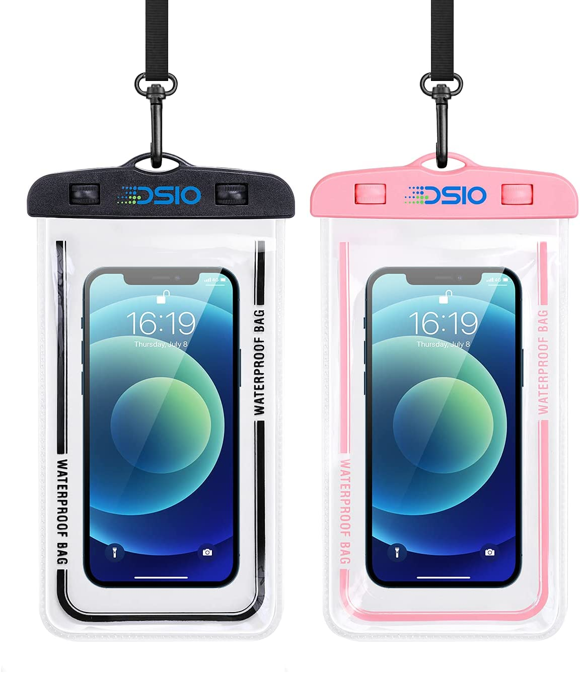 """Waterproof Phone Case,2PCS IPX8 Waterproof Phone Pouch with Lanyard Compatible for iPhone 12 Pro 11 Pro Samsung Galaxy s10/s9,Pixel 4 XL up to 7"""" (Black+Pink)"""