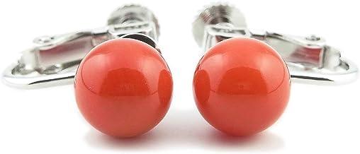 珊瑚 イヤリング (染色:赤) 8mm 玉 3月 誕生石 soe-A0008