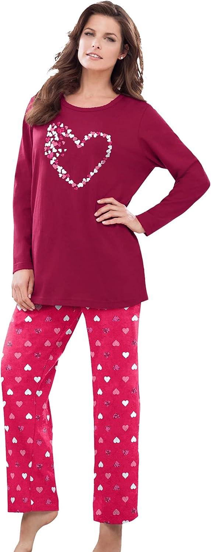 定番スタイル Dreams Co. Women's Plus オンラインショップ Size Long Knit Pajamas Sleeve Set Pj