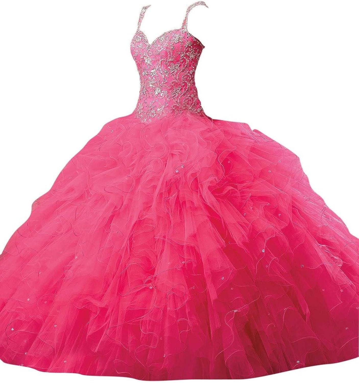 Dearta Women's ALine Regular Straps FloorLength Laceup Quinceanera Dresses