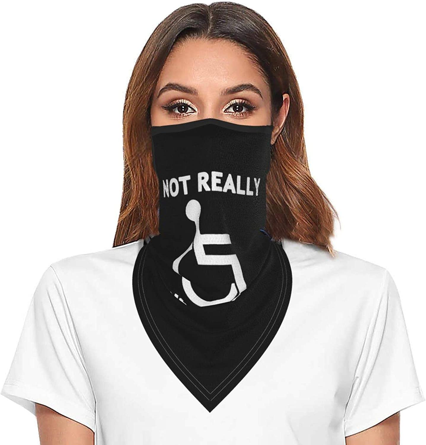 Not Really Handicapped Just Lazy Neck Gaiter Face Mask With Ear Loops Outdoor Breathable Scarf For Men Women