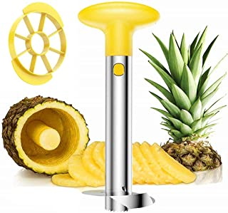 Cortador de piña y descorazonador de acero inoxidable fácil cocina fruta herramienta piña rebanador pelador piña 3 en 1 amarillo