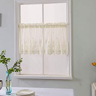 Topmodehome Lace Floral Embroideried Semi Sheer Curtain Window Valance for Kitchen Cafe Dinning Bath Room 1 Pcs (Beige)
