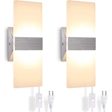 Details about  /GOCuces  2*1W LED Wall Sconces Bedroom Lamps Warm White//White Color