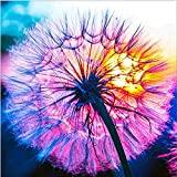 Flower Diamond Painting Kits for Adults, 5D Crystal Diamonds Art with Accessories Tools, Dandelion Picture DIY Arts Dots Craft for Home Décor, Ideal Gift for Friends or Self Painting