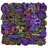 FEZZ 50 Piezas Stickers Party Stickers Kids Cartoon Graffiti Calcomanías Vinilo para Laptop Coche Moto Monopatín Bicicleta Equipaje iPhone Stickers Graffiti Impermeable (neón)