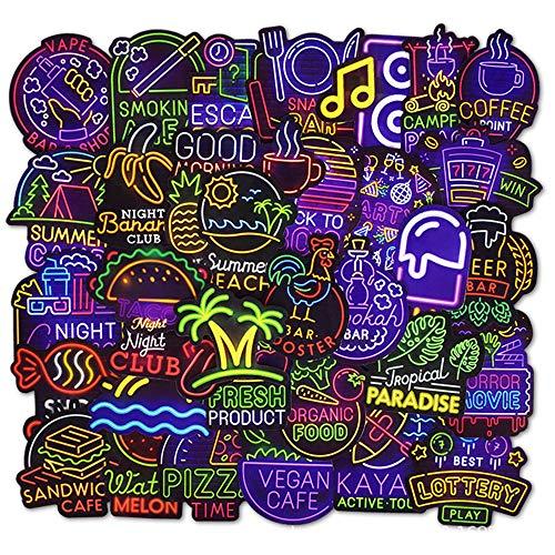 FEZZ 50 Stücke Vinyl Aufkleber Auto Motorrad Fahrrad Graffiti Aufkleber Laptop Computer Kinder Sticker Set Skateboard Gepäck Koffer Helm Snowboard Totenkopf (Neon)