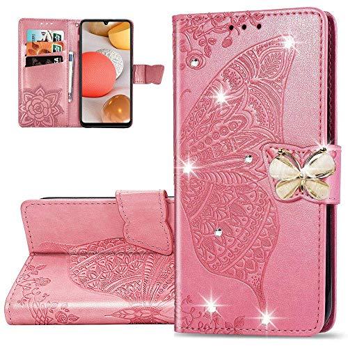 LEMAXELERS Carcasa Xiaomi Redmi 9C,Funda Xiaomi Redmi 9C Diamante Flor de mariposa en relieve Carcasa de Tipo Libro con Ranuras para Tarjetas de Soporte y Solapa Case,SD Diamond Die Pink