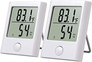 Neoteck Mini Digital Thermometer and Hygrometer Anti-Reflective Screen Design Great Visibility, Temperature Humidity Gauge for Home Kitchen Bedroom Baby Room Office - 2 Pack