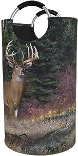 Panier à linge rond, panier à linge Red Deer canadien seau pliable sac à vêtements bacs de rangement pour bureau jouet org...