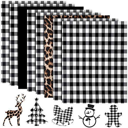 9 Sheets Christmas Heat Transfer Vinyl Christmas Print Transfer Vinyl Assorted Iron-on HTV Sheets for T-Shirts Fabric Craft DIY Making, 12 x 10 Inch (White and Black, Leopard, Solid Black)