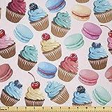 Lunarable Bunter Stoff von The Yard, Macarons und Cupcakes