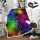 Bedbay Galaxy Blanket Throw Rainbow Nebula Blankets Colorful Space Sherpa Fleece Blanket Universe Nebula Throws Soft Cozy Bed Couch Blankets for Kids Teens Winter(Colorful, Throw(50'x60'))