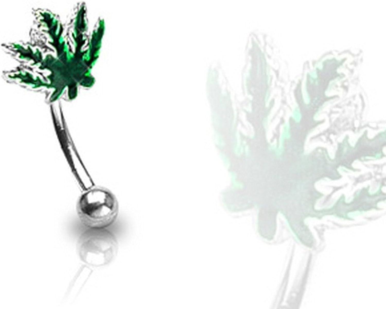 Covet Jewelry Pot Leaf Epoxy 316L Surgical Steel Curve Eyebrow