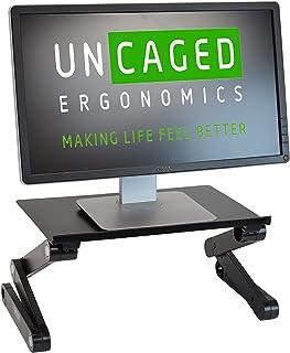 WorkEZ Monitor Stand ergonomic adjustable height and angle single computer monitor riser. Portable folding aluminum holder...