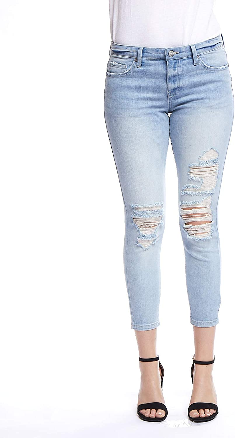 Glamsia Denim Women's Juniors Mid Rise Destructed Crop Skinny Jeans