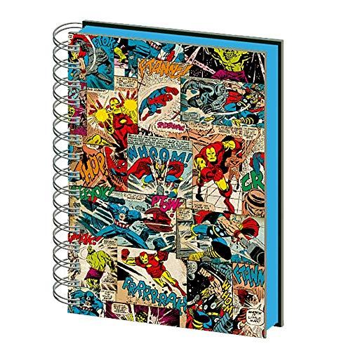 Cuaderno de notas de papel auténtico de Marvel Comics con tiras de cómics 3D lenticular A5 y espiral