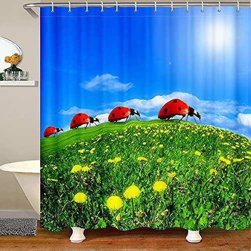 Homemissing Marienkäfer Duschvorhang 180x200cm Marienkäfer Gras Blumen wasserdichte Accessoires mit Haken 3D Tierstoff Duschvorhang Textil Kinder Erwachsene Zimmer Natur Thema