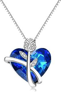 AOBOCO Sterling Silver Heart گردنبند برای زنان کریستال Swarovski آبی گل رز جواهر سالگرد هدیه تولد برای دختر عاشق خواهر دوست دختر دوست دختر خواهر دوست