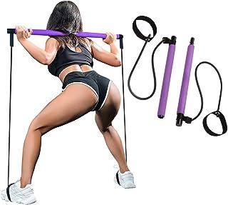 SIYWINA Pilates Stick Bar Kit Yoga Stick med Fotögla Bärbar Fitness Motstånd Band för Hem Sport Träningsutrustning