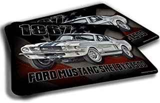 Brotherhood 1967 Compatible with Ford Mustang Shelby GT500 American Flag Rubber Grip Non Skid Backing Rug Indoor Entryway Door Rug Mats Pack of 2