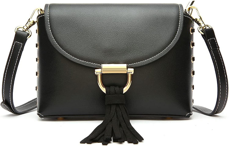 Sturdy New Shoulder Leather Handbag Tassel Shoulder Messenger Handbag Portable Solid Tassel Small Square Handbag Female Strap Style Large Capacity (color   Black)