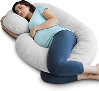 PharMeDoc Pregnancy Pillow with Jersey Cover, C Shaped Full Body Pillow (Light Gray)