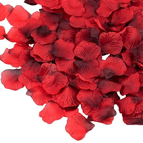 "Supla 3000 Pcs Dark Red Silk Rose Petals 2"" to 2 1/4"" Wedding Party Decoration"