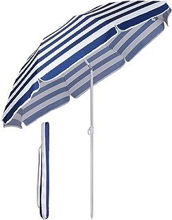 Sekey parasoll Ø 160 cm marknadsparaply trädgårdsparasoll parasoll blå vita ränder solskydd UV20+