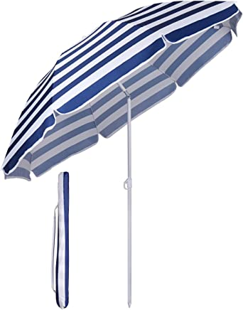 Sekey Sonnenschirm Ø 160 cm Marktschirm Gartenschirm Terrassenschirm Blaue Weiße Streifen Sonnenschutz UV20+