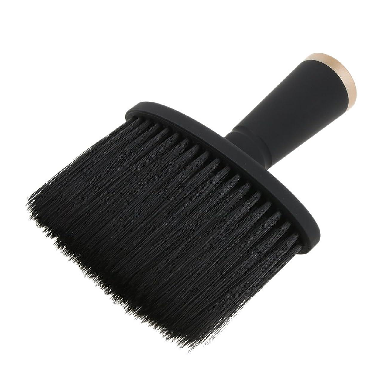 ウェーハ反逆葬儀Fenteer ネックダスターブラシ ヘアカット ヘアブラシ ヘアスタイリスト 理髪 高品質 合成繊維+プラスチック 全2色 - ゴールド