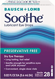 Bausch + Lomb Soothe Preservative-Free Lubricant Eye Drops, Box of 28 Single Use Dispensers