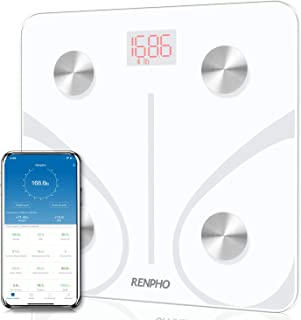 RENPHO Body Fat Scale Smart BMI Scale Digital Bathroom Wireless Weight Scale, Body Composition Analyzer with Smartphone App sync with Bluetooth, 396 lbs - White