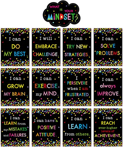 Growth Mindset Posters Bulletin Board Display Set Positive Sayings Accents What is Your Mindset for Classroom Decoration