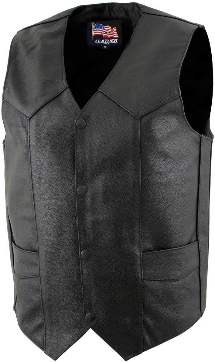 USA Leather 1201 'Club' Men's Black unisex - 4 years warranty X-Large Vest