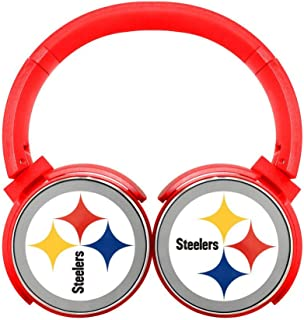 Pittsburgh Steelers Logo Mobile Wireless Bluetooth Over Ear Headphones Red