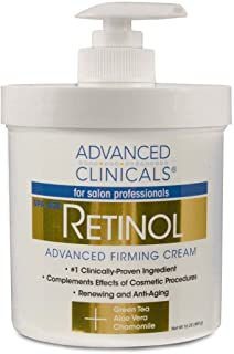 Advanced Clinicals Retinol Cream. Spa Size for Salon Professionals. Moisturizing Formula Penetrates Skin to Erase the Appe...
