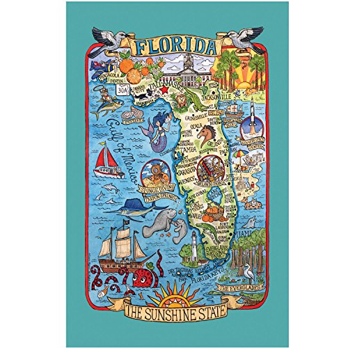 Kay Dee Designs F2183 Adventure Destinations Poster Style Tea Towel, Florida