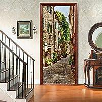 sesemao3Dインテリアドアベッドルームステッカードアステッカー防水粘着紙リビングルームベッドルームオフィスファミリーロマンチックなストリート風景-90 * 200