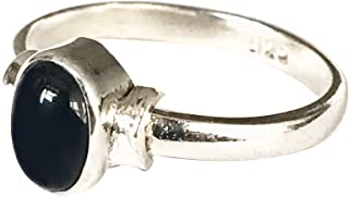 Shanya 925 Sterling Silver Ethnic Ring Black Onyx. Stone size is 5 X 7 mm. Handcrafted Jewellery - Beautiful Gift. UK Size.