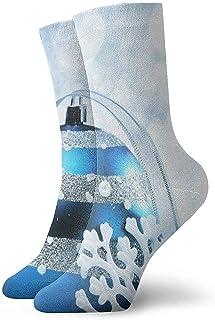 Kevin-Shop, Calcetines Tobilleros de Bola de Navidad Azules Calcetines Casuales y acogedores para Hombres, Mujeres, niños