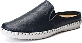 XinQuan Wang Driving Loafer for Men Casual Slipper Slip On Style Microfiber Leather Waterproof Round Toe Flat Heel (Color : Blue, Size : 10 UK)