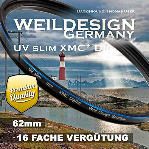 Filter UV slim 62mm XMC Digital Weil Design Germany - SYOOP - Objektivschutz, blockt ultraviolettes Licht, 3 mm flache Metallfassung, mit Frontgewinde, 16 fach vergütet XMC inkl. Filterbox